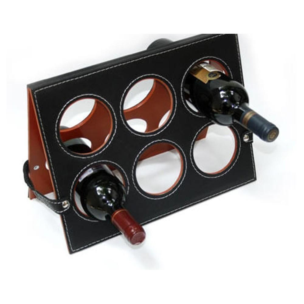 Base para 6 botellas de vino en piel chocolate