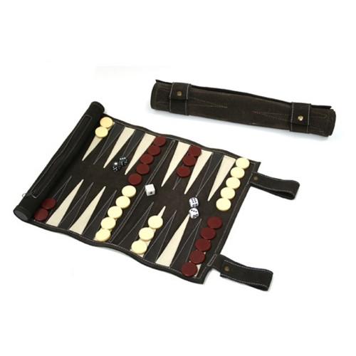 Backgammon rollo mediano de piel chocolate
