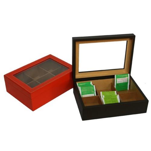 Caja té 6 vidrio y piel