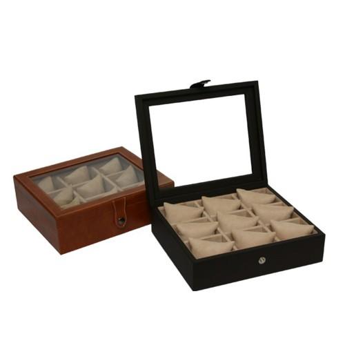 Caja reloj 12 vidrio y piel