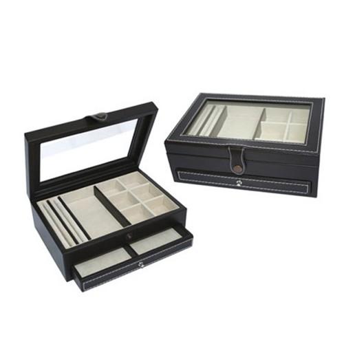 Joyero mediano cajón 3 piel y vidrio