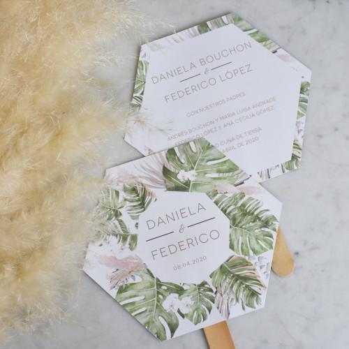 Abanicos de papel y madera personalizados Set de 50