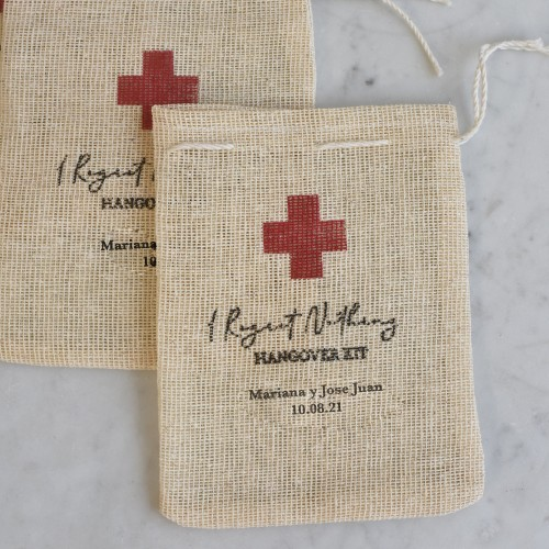Hangover kits personalizados de yute Set de 50