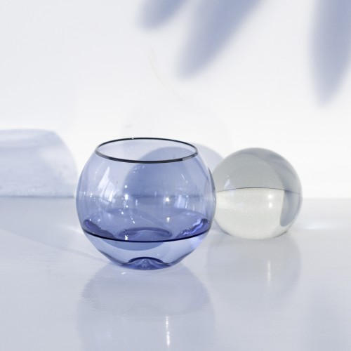 Set 4 tumblers cristal para vino Ensenada Indigo Filo Plata