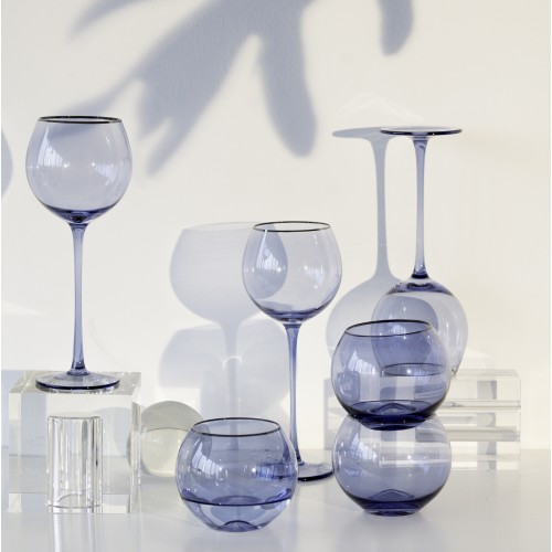 Set 4 copas cristal para vino Ensenada Indigo Filo Plata
