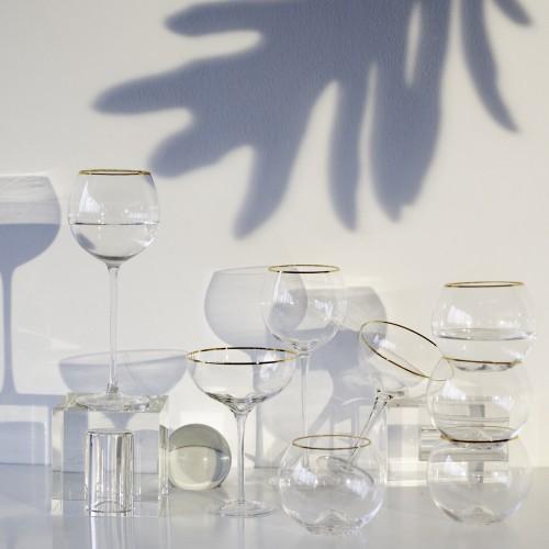 Set 4 copas cristal para vino Ensenada Lunaria Filo Oro