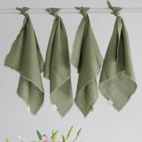 Set 4 servilletas lino Chetumal Olivo