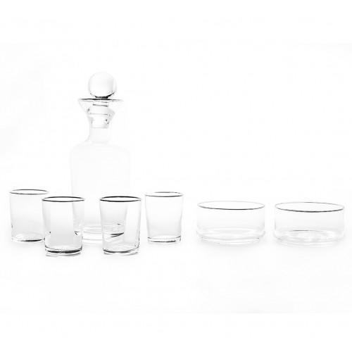 Set de licorera vasos y botaneros 4 personas