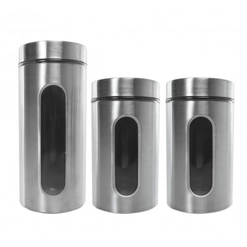 Set de especieros de vidrio y acero inox