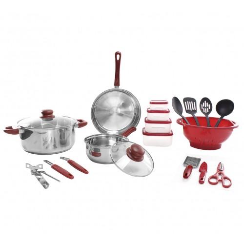 Set de cocina de acero inoxidable, vidrio y plástico de 25 pzs