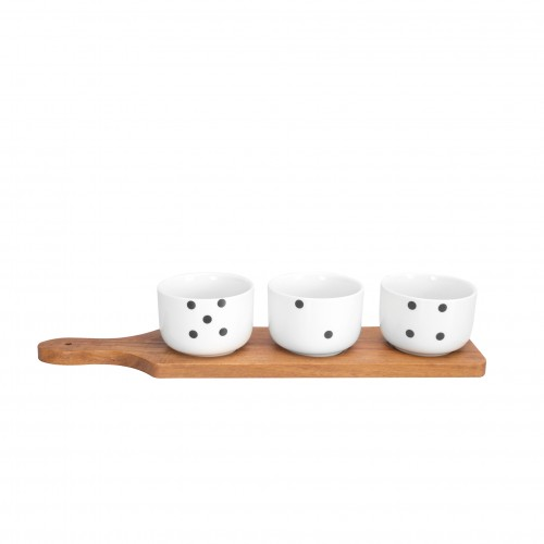 Domino Three Botanero de Porcelana y Madera
