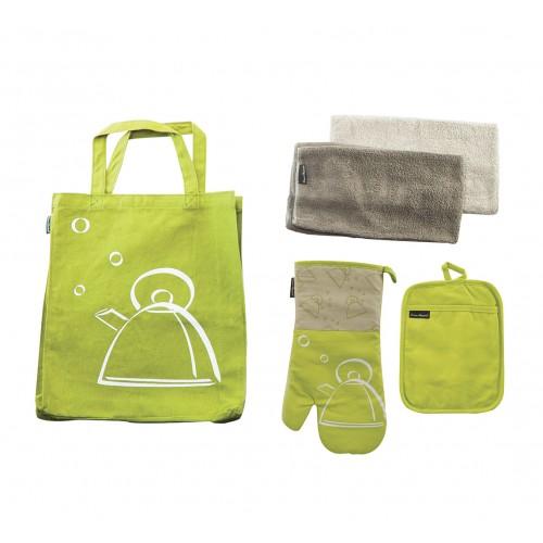 Set de accesorios textiles para cocina de algodón Verde
