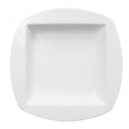 Set de 6 Platos soperos cuadrados de porcelana 21cm