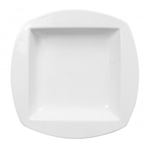 Set de 6 Platos soperos cuadrados de porcelana 26cm