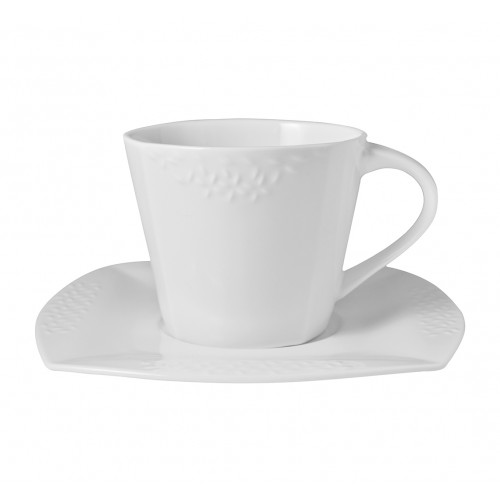 Set de 6 Platos y tazas cuadradas de porcelana