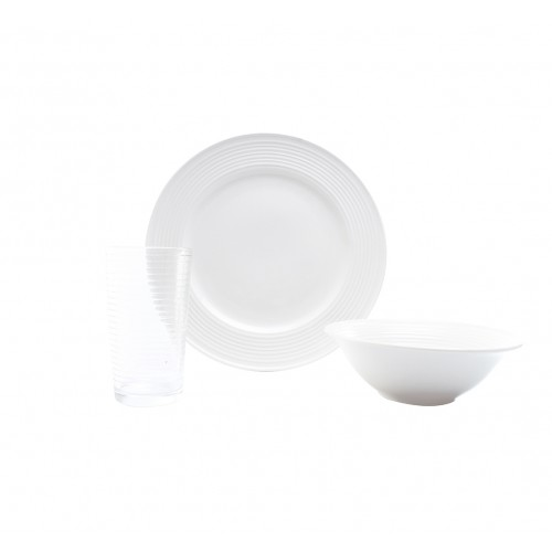 Simply Basics Vajilla redonda Porcelana vaso vidrio 4 personas