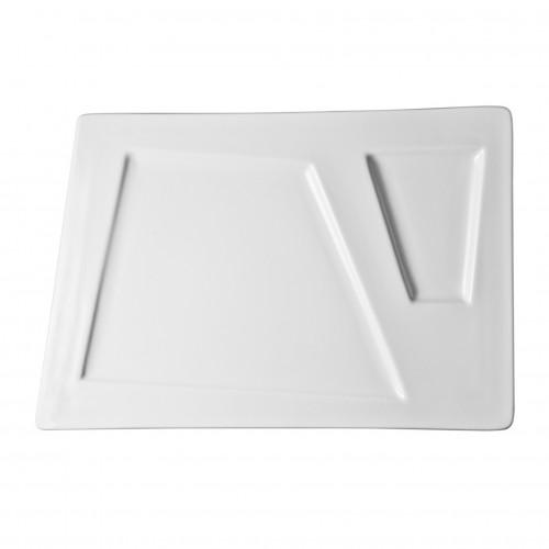 Plato rectangular con divisiones de porcelana