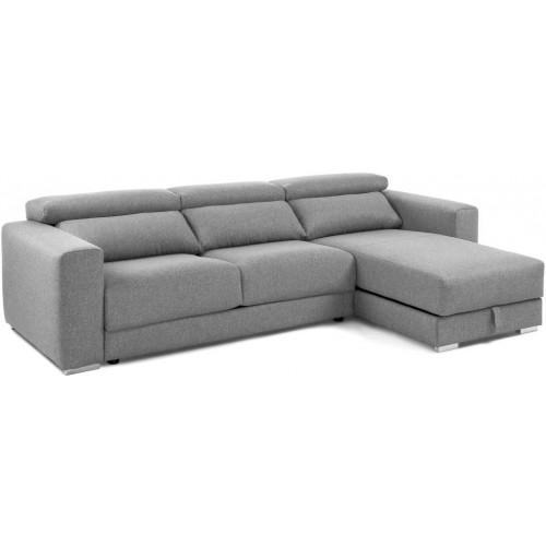 Takian Sofá 3 Plazas + Chaise Lounge Gris
