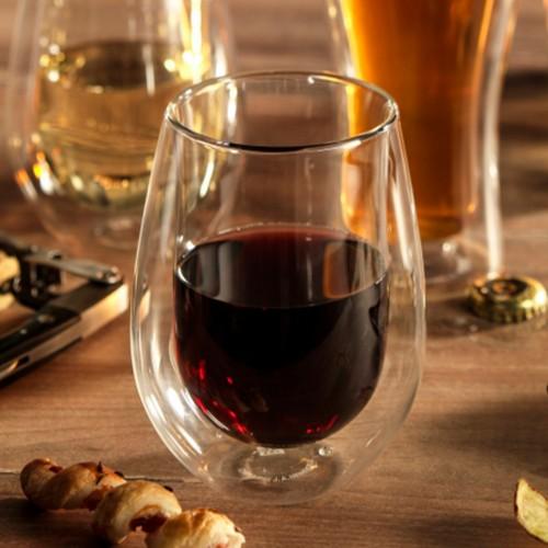 Set de 2 Vasos De Vidrio Para Vino Doble Pared