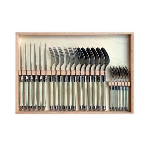Juego de 24 cubiertos pulido espejo – Imitacion marfil