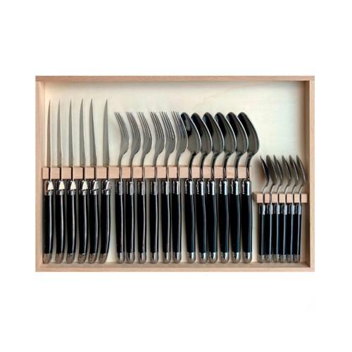 Juego de 24 cubiertos pulido espejo – ABS negro