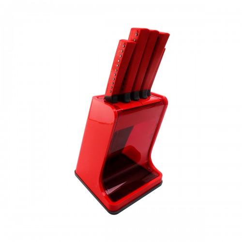 Set de cuchillos rojos con base 6 piezas