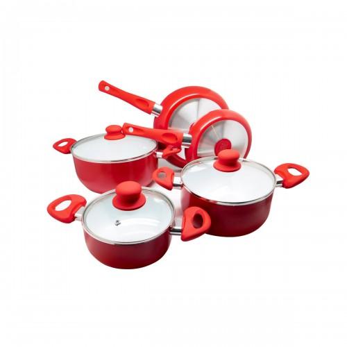 Batería de cocina roja 8 piezas