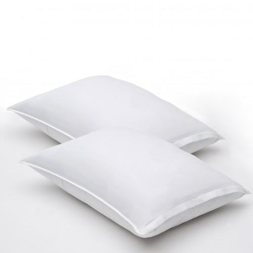 Almohadas de fibragel, satin 100% algodón, 300 hilos, suaves con funda protectora ESTANDAR (pack de 2)