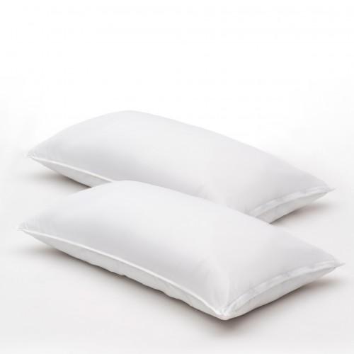 Almohadas de fibragel, satin 100% algodón, 300 hilos, suaves con funda protectora KING SIZE (pack de 2)