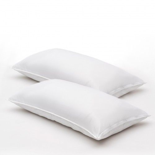 Almohadas de fibragel, satin 100% algodón, 300 hilos, firmes con funda protectora KING SIZE (pack de 2)