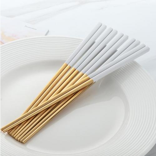 Fusion chopsticks set de 4 dorado y blanco