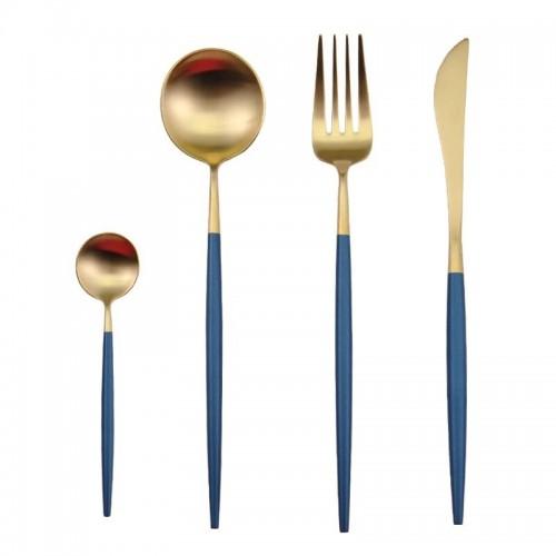 Fusion set de 4 cubiertos dorado y azul