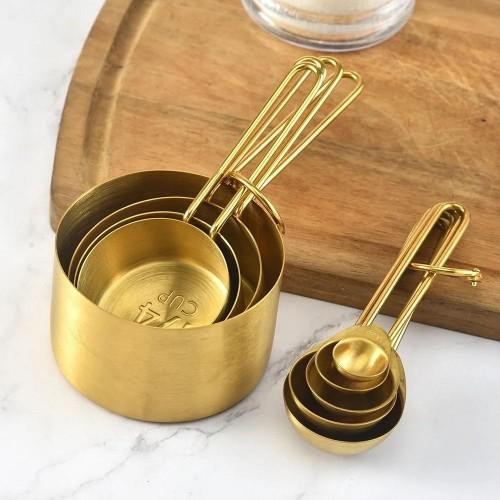 Set de 8 Tazas y Cucharas Medidoras Gold