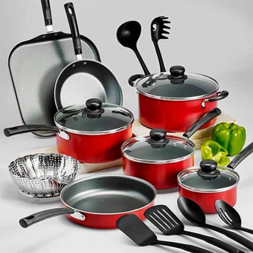 Batería de Cocina 18 Piezas Primaware Rojo